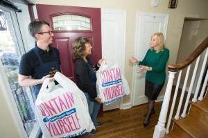work - Anne & Brian Bringing Supplies